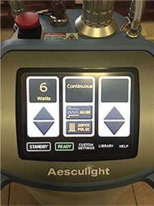 Laser Settings - Incision marking: 2 watts in the continuous wave SuperPulse mode with a 0.25 mm-0.4 mm spot size 2