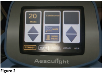 Figure 2 - Aesculight Laser Settings