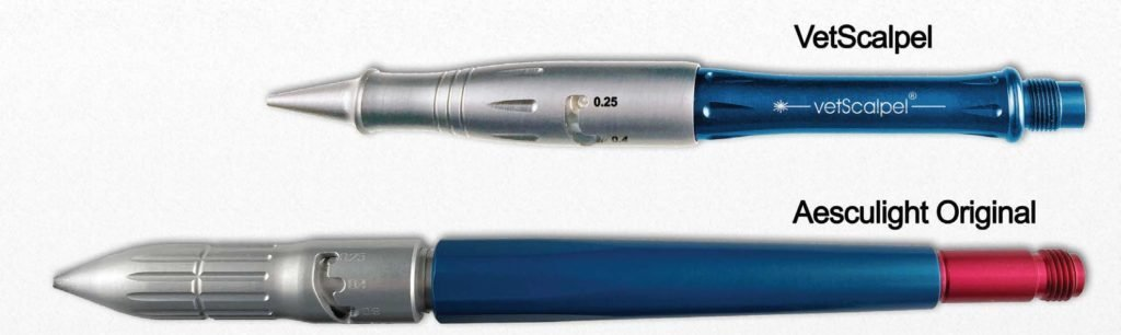 FIGURE 2: The VetScalpel adjustable handpiece compared with the Aesculight original handpiece.